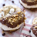S'mores Chocolate Chip Cookie Ice Cream Sandwiches