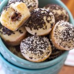 These mini donut holes are filled with Nutella, dunked in a vanilla glaze, and topped with sprinkles. Plus, they're baked instead of fried! So, you know, you can eat more.