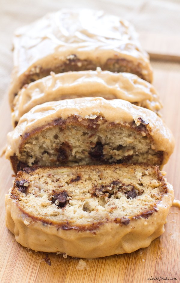 banana bread is packed with chocolate chips and topped with a peanut ...