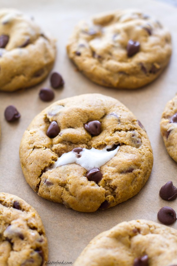 These thick and chewy pumpkin chocolate chip cookies are stuffed with a gooey marshmallow!