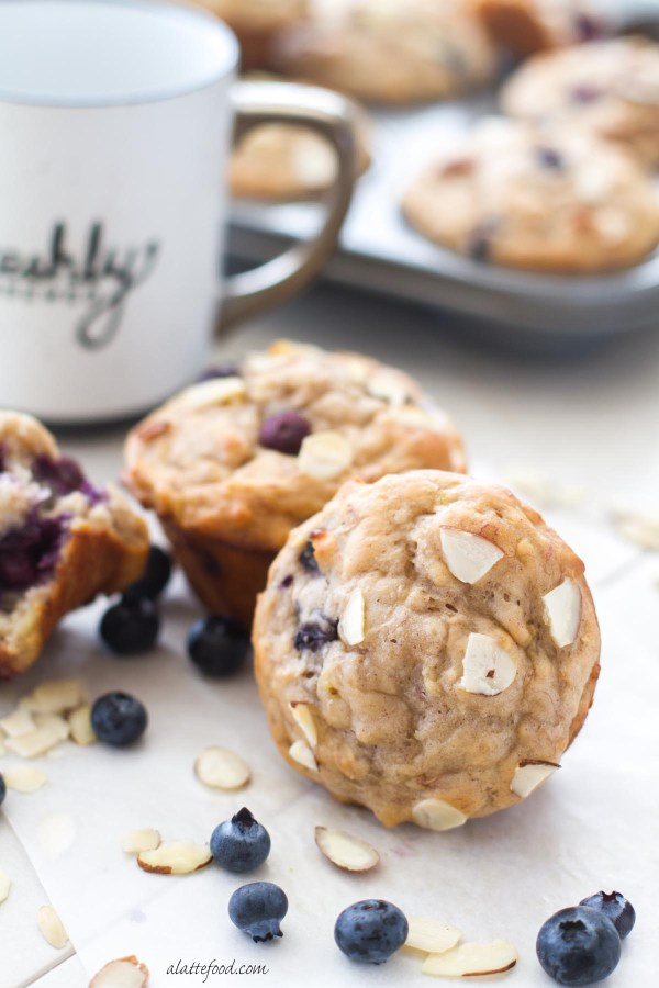 This easy blueberry almond muffin recipe is made with bananas, honey ...