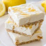 { Lighter } No Bake Lemon Cheesecake Bars