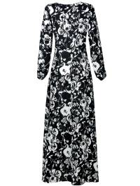 black and white floral long dress