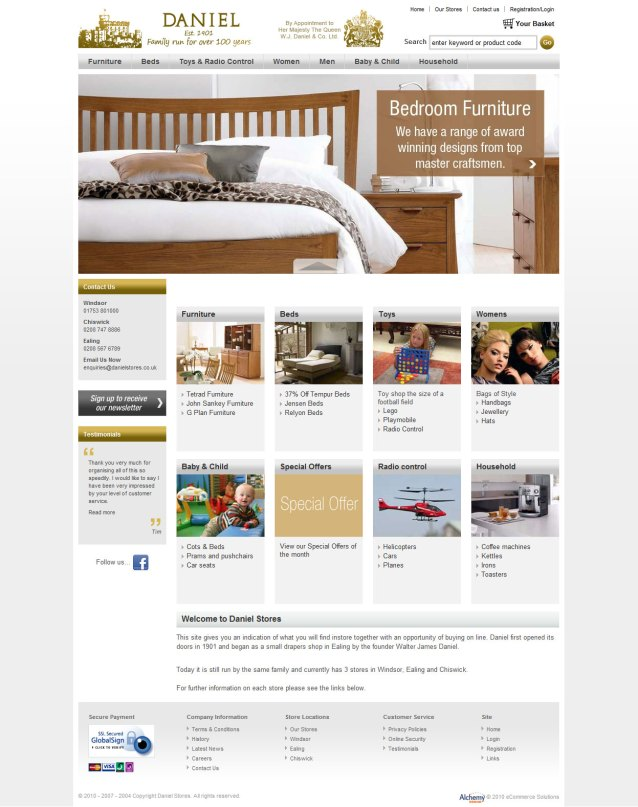 Daniel Stores Home Page Screenshot