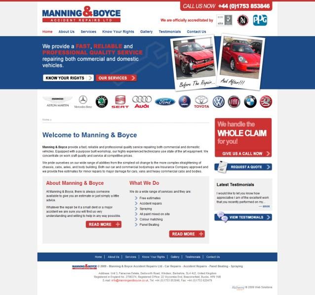 Manning & Boyce - Home Page Screenshot