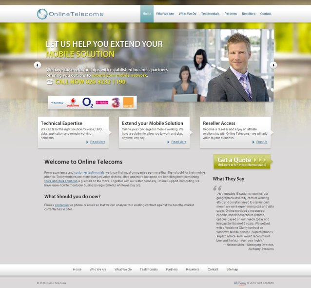 Online Telecoms - Home Page Screenshot
