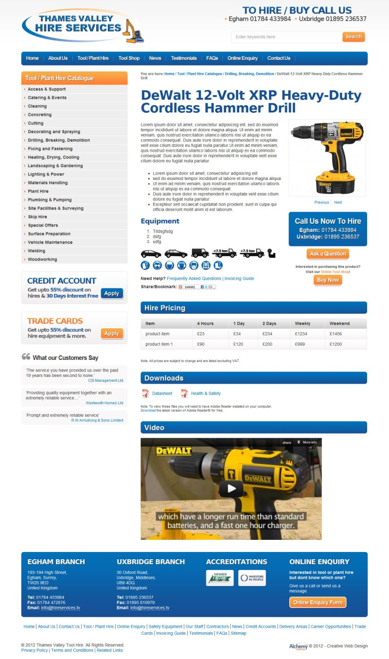 Thames Valley Hire Services - Product Page