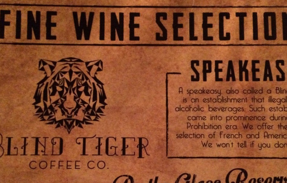blind tiger menu