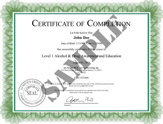 Alcohol Awareness CLass of Completion