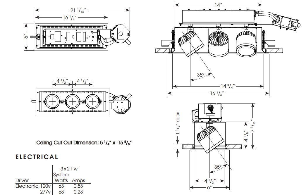 Cylindrix® III Mini C3MREM-3 3LT Triple LED Recessed Lighting