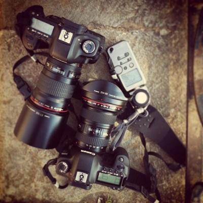 fotógrafos y fotómetro de mano