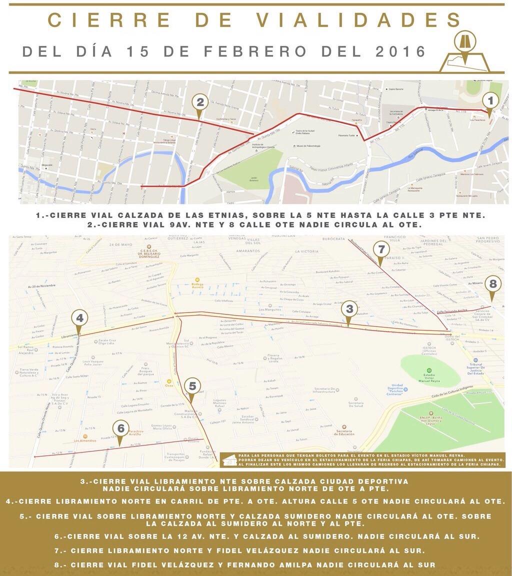 Cierres viales para el día 15 de febrero, visita del Papa en #Tuxtla