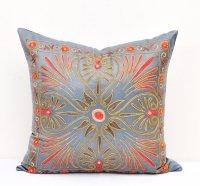 Blue Suzani Mavrigi Design Toss Pillow Accent Cushion