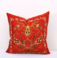 Hot Red Turkish Embroidered Suzani Pillow Cover | Alesouk ...