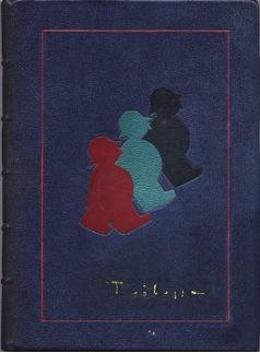Trilussa- Giove e le bestie · Legatura in zigrino blu chiaro con intarsi in cuoio rosso turchese e nero