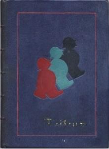 Trilussa- Giove e le bestie Legatura in zigrino blu chiaro con intarsi in cuoio rosso turchese e nero