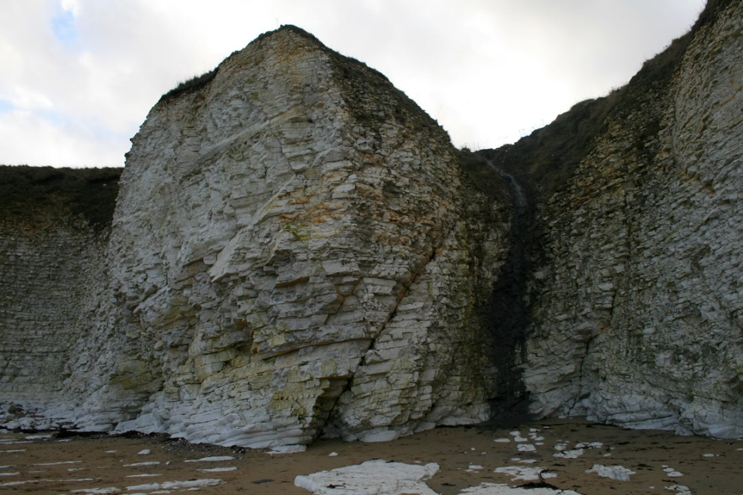 A crack formed in the chalk cliffs at Flamborough