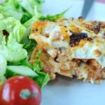 Chicken and mushroom lasagne with salad