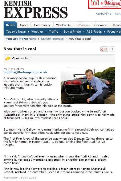 Case Study East Kent Audi Pr In Kent From