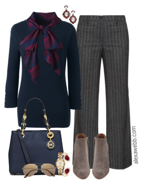 Plus Size Bow Blouse Work Outfit