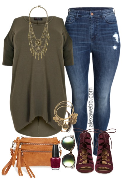 Plus Size Dipped Hem Top & Jeans Outfit