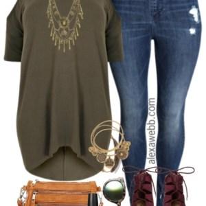 Plus Size Dipped Hem Top & Jeans Outfit - Plus Size Fashion for Women - alexawebb.com #alexawebb