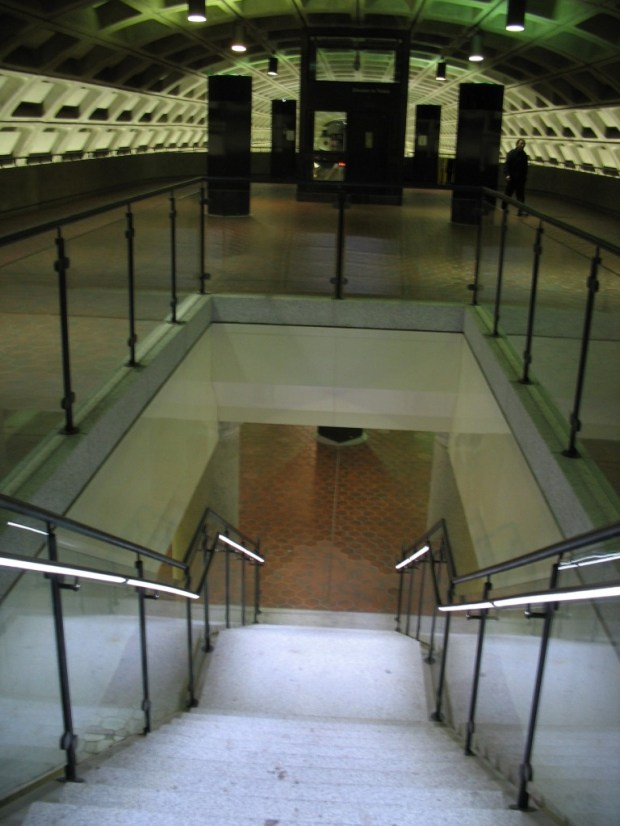 LED handrail lights, Navy Yard station.