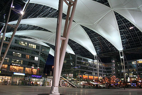 Munich Airport Forum; showing roof over the open air public space. Creative Commons image from Nir on Flickr.