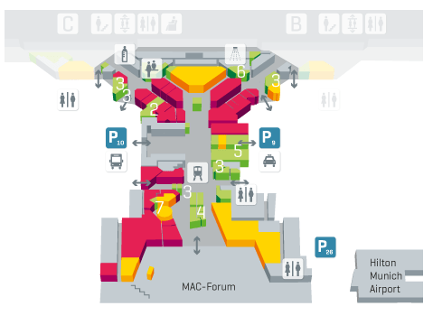 Schematic map of Munich Airport Center; note retail (red) and restaurants (yellow), Terminal 1 (top), Terminal 2 and the Forum (bottom), S-Bahn station (below), buses (left side) and taxis (right side).