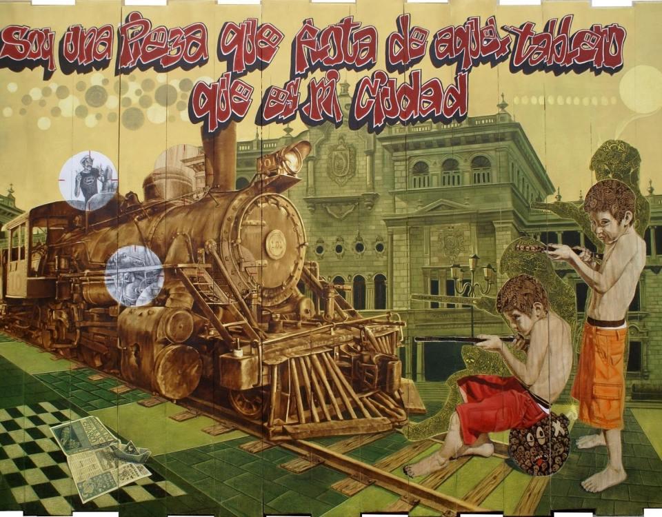 Pion dos negro a pion uno blanco (Pirograbado) - Alex Cuchilla - El Salvador