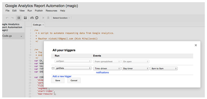 Google Analytics Report Automation Timer