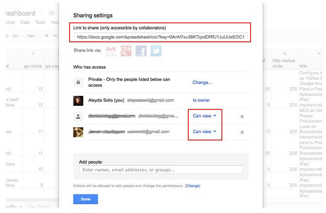 Share Google Docs SEO Dashboard