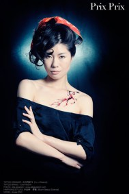 Azusa Ono modeling Tsuyabeni temporary tattoo