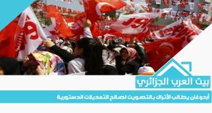أردوغان يطالب الأتراك بالتصويت لصالح التعديلات الدستورية
