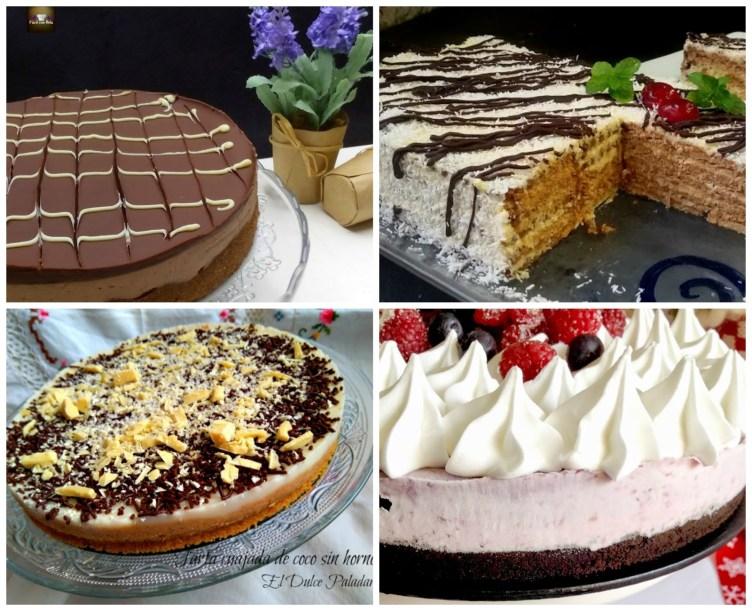 4 tartas sin horno