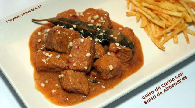guiso carne salsa almendras - y hoy que comemos