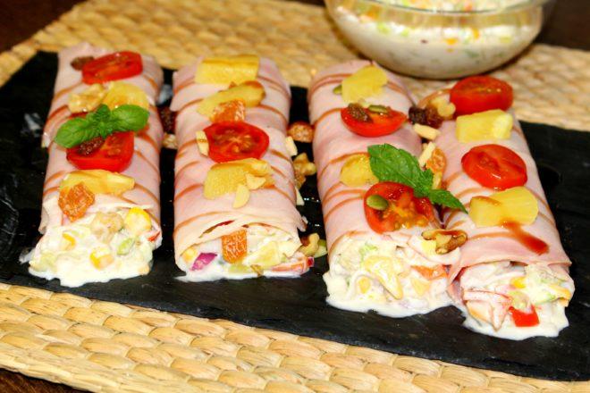 Canelones de jamón cocido