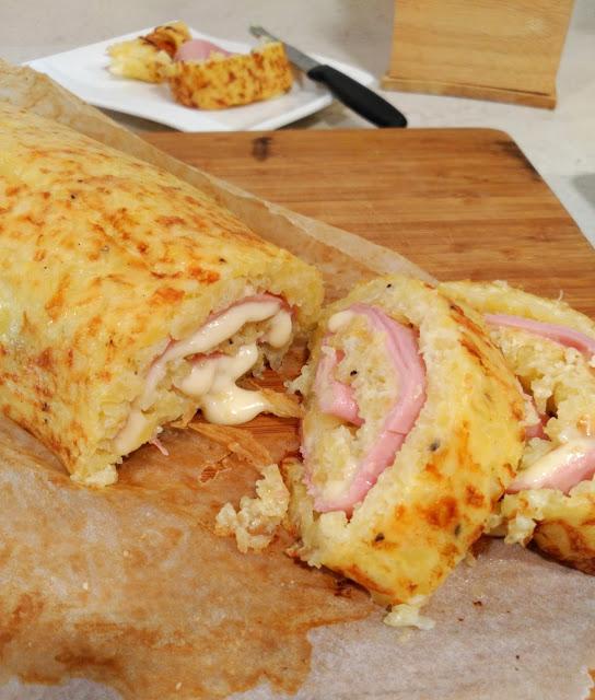 Brazo de patata relleno de jamón y queso
