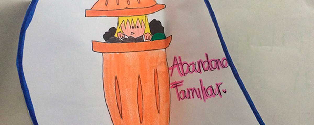 Representación sobre qué es el abandono. Dibujo realizado por una niña del grado 8vo de la Normal de Tunja. Que participó en el programa Pasa la Voz, tu opinión Cuenta, del ICBF y de la Agencia PANDI. Oct. De 2015.