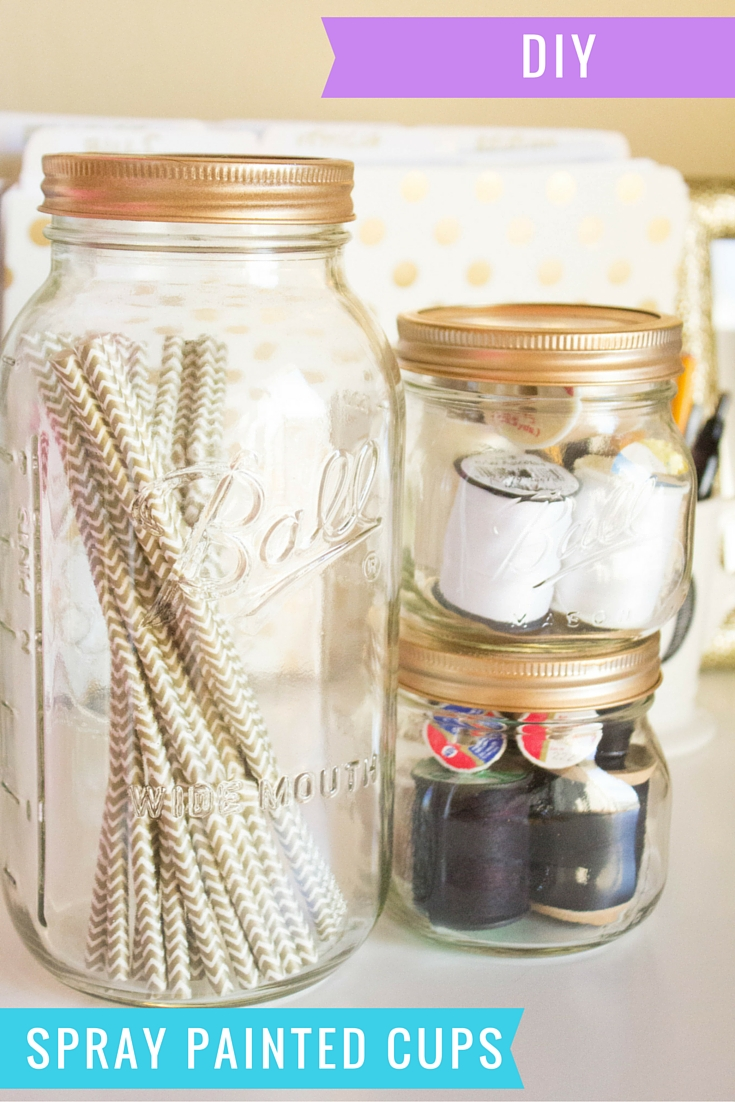 these gold spray painted cups are super easy and only take a few. Black Bedroom Furniture Sets. Home Design Ideas