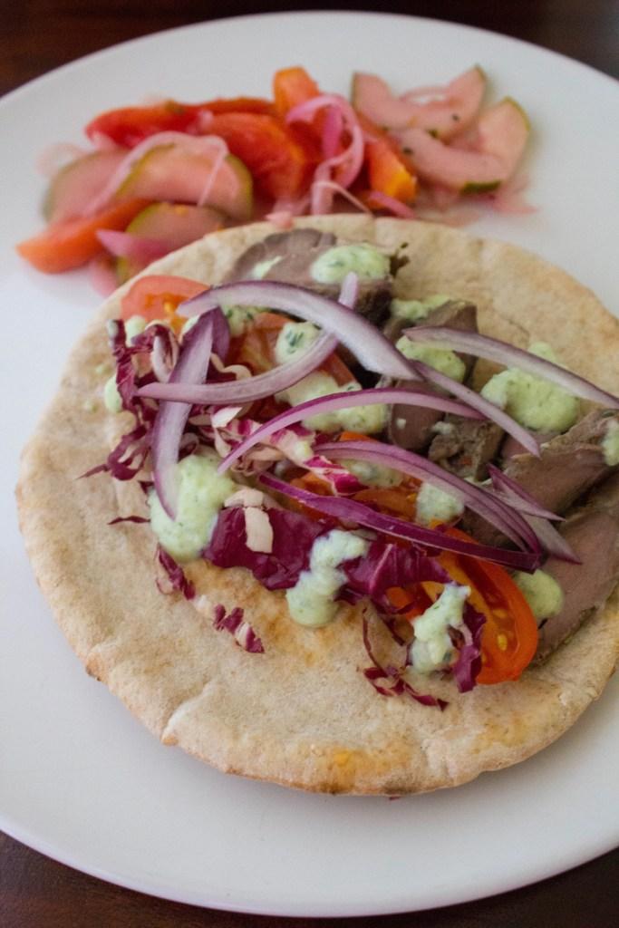 Gyro sandwich recipe with fresh tzatziki yogurt sauce