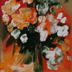 Цветы на оранжевом фоне 90х65, холст, масло, 2010