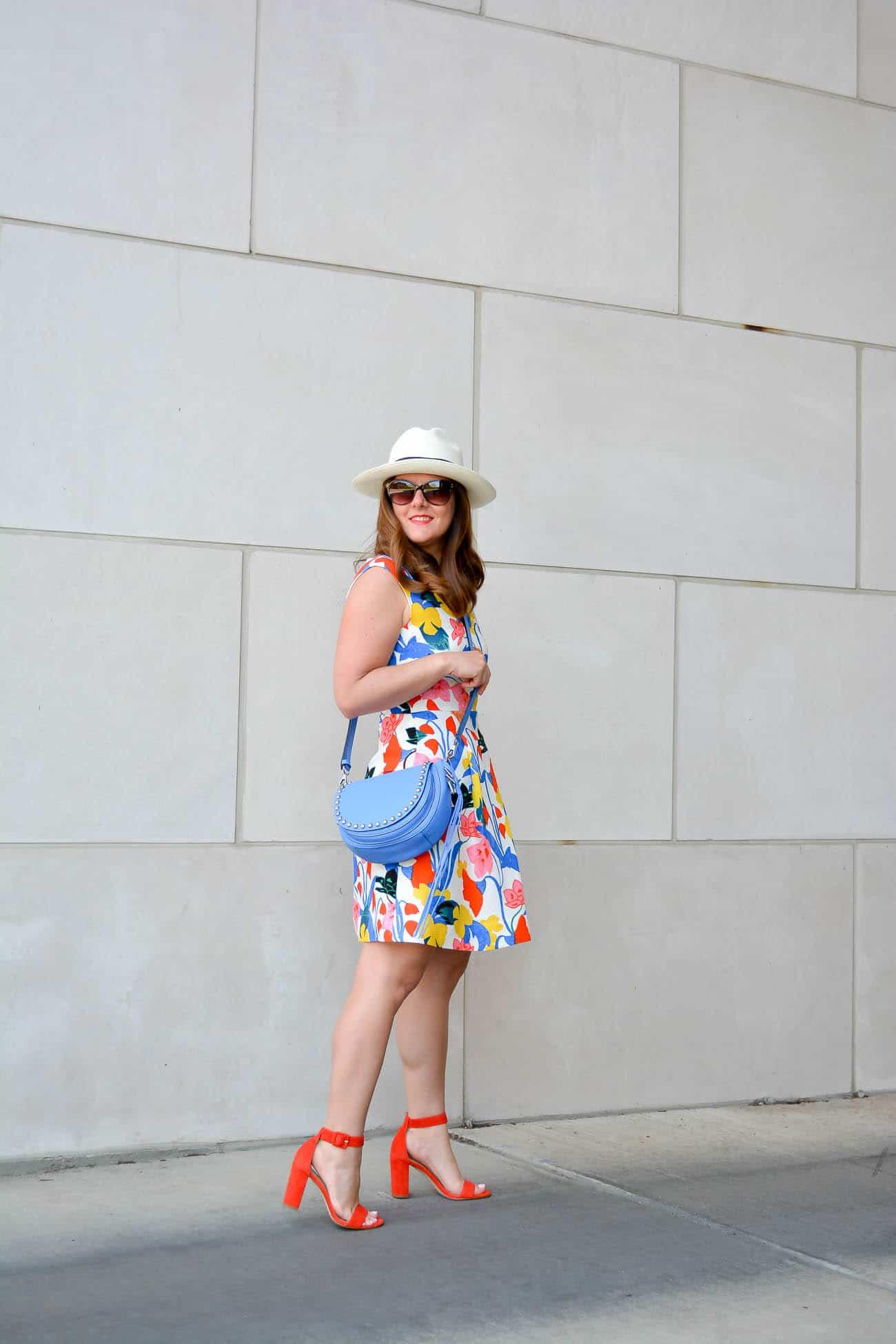 J.Crew A-Line Dress in Morning Floral, Ann Taylor Leda Block heel sandals, Rebecca Minkoff Unlined Saddle Bag, Chicago Fashion Blogger, J.Crew Fedora,