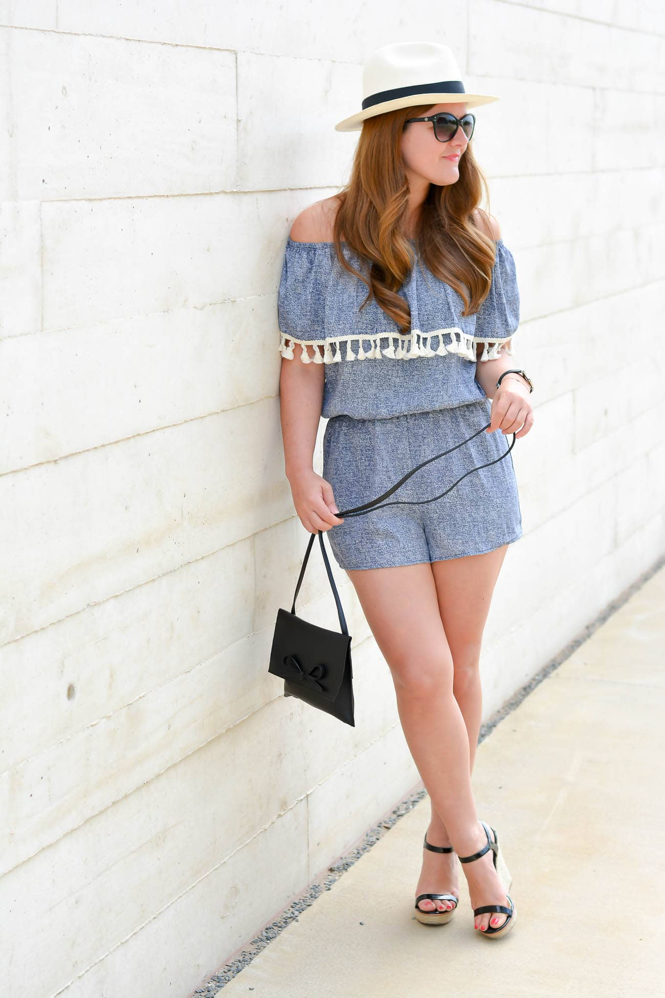 Chicago Fashion Blogger, Chambray romper, off the shoulder romper, tassel romper, petite style, wedge sandals