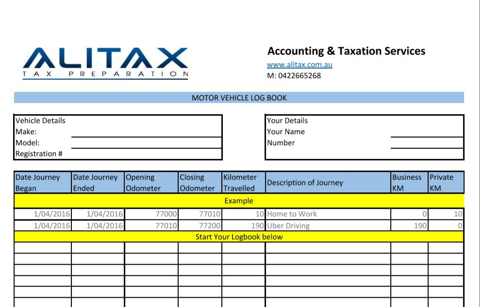 Logbook for UBER Drivers - ALITAX TAX PREPARATION