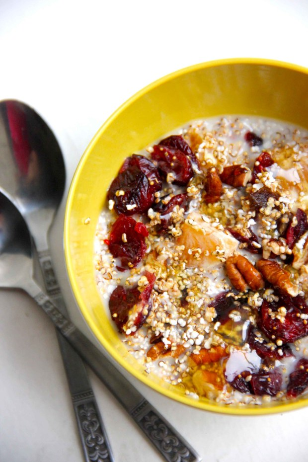 Popped Amaranth Cereal with Winter Fruits and Pecans