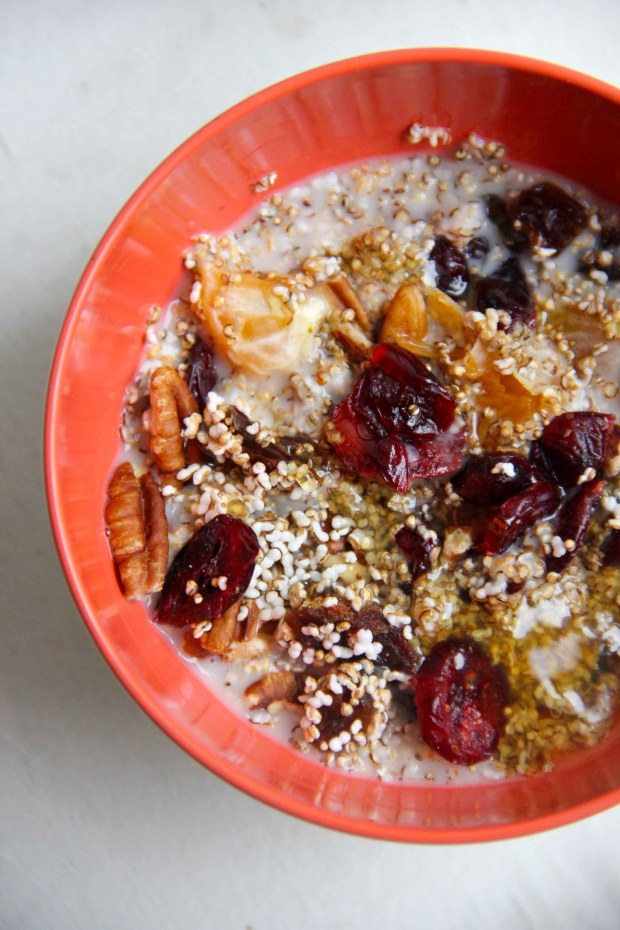 Popped Amaranth with Winter Fruits and Pecans