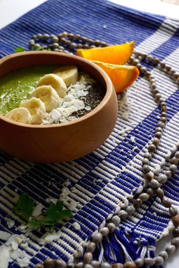 Super Green Springtime Smoothie Bowl with Cilantro