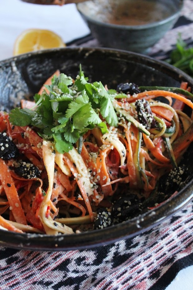 Rainbow Noodles with Spicy Jungle Peanut Sauce