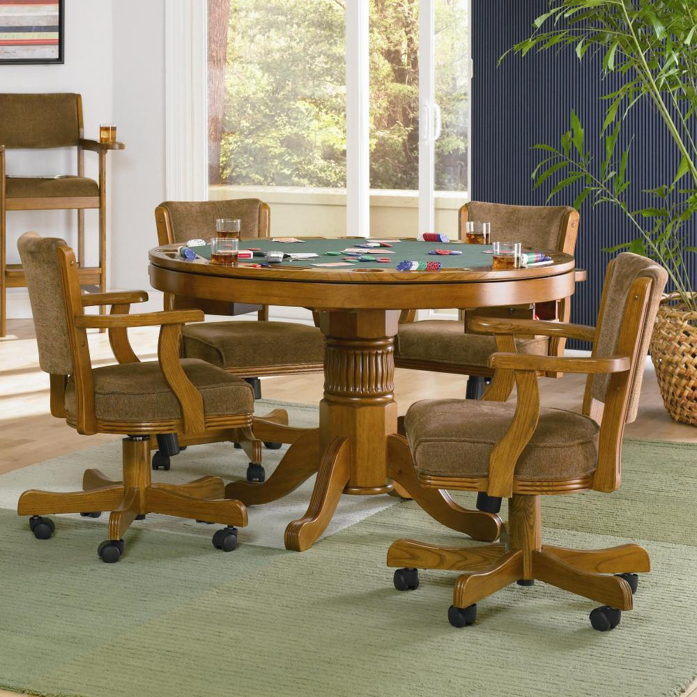 Coaster mitchell oak 5 piece 3 in 1 game table set